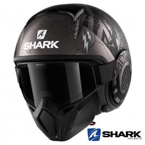 Casco Moto Jet Shark STREET-DRAK Crower Mat - Nero Antracite Argento