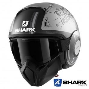 Casco Moto Jet Shark STREET-DRAK Tribute RM Mat - Argento Antracite