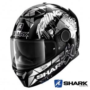Casco Moto Integrale Shark SPARTAN Lorenzo Catalunya GP - Nero Bianco Glitter