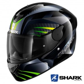 Casco Moto Integrale Shark D-SKWAL 2 Mercurium - Nero Antracite Verde