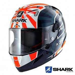 Casco Moto Integrale Shark RACE-R PRO Replica Zarco 2019 - Blu Bianco Arancione