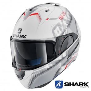 Casco Apribile Shark EVO-ONE 2 Keenser - Bianco Argento Rosso