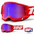 Maschera Cross 100% ACCURI2 YOUTH Neon Red - Lente Rosso Blu Specchio