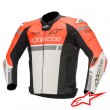 Giacca Moto Pelle Alpinestars MISSILE IGNITION TECH-AIR™ Airbag - Rosso Fluo Bianco Nero