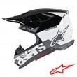Casco Motocross Alpinestars SUPERTECH S-M8 Radium - Bianco Nero Grigio Medio