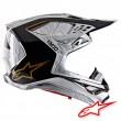 Casco Motocross Alpinestars SUPERTECH S-M10 Alloy - Argento Nero Carbonio Oro