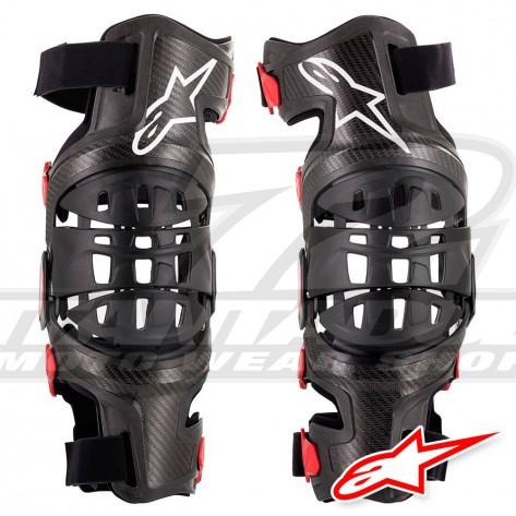 Ginocchiera Alpinestars BIONIC-10 CARBON Knee Brace - Set - Nero Rosso
