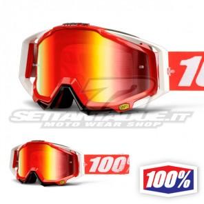 100% Maschera THE RACECRAFT Fire Red - Lente Rosso Specchio