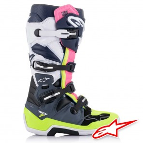 Alpinestars TECH 7 Boots - Dark Grey Dark Blue Pink Fluo