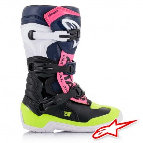 Alpinestars TECH 3S Youth Boots - Black Dark Blue Pink Fluo