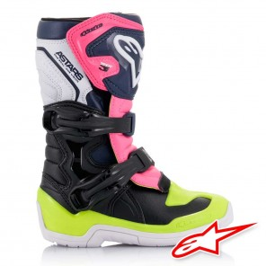 Alpinestars TECH 3S Kids Boots - Black Dark Blue Pink Fluo
