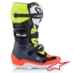 Alpinestars TECH 7S Boots - Dark Grey Red Fluo Yellow Fluo