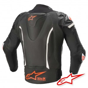 Alpinestars GP PRO V2 TECH-AIR™ Airbag Compatible Leather Jacket - Black White Red Fluo