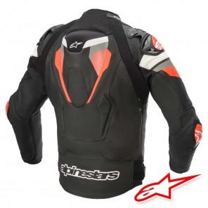 Alpinestars ATEM V4 Leather Jacket - Black Mid Grey Red Fluo