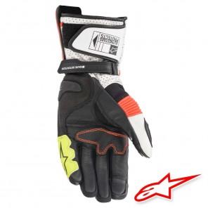 Alpinestars SP-2 V3 Leather Gloves - White Red Fluo Black