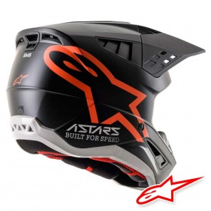 Alpinestars S-M5 Compass Helmet - Black Orange Fluo Matt