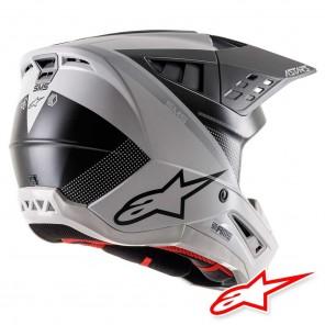 Alpinestars S-M5 Rayon Helmet - Light Grey Black Silver Matt