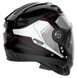 Nolan N70-2 GT N-COM Lakota 37 Helmet - Metal Black Silver Red