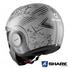 Shark STREET-DRAK Tribute RM Mat Helmet - Silver Anthracite
