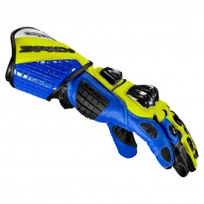 Spidi CARBO TRACK EVO Leather Gloves - Blue Yellow