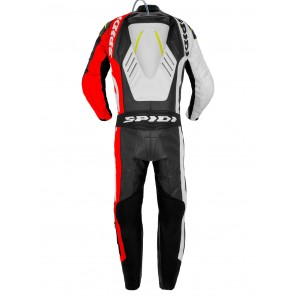 Spidi TRACK WIND PRO Leather Suit - Red Fluo Yellow