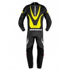 Spidi LASER PRO PERFORATED Leather Suit - Black Yellow Fluo