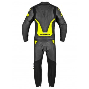 Spidi LASER TOURING 2pc Leather Suit - Black Yellow Fluo
