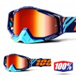 100% THE RACECRAFT Calculus Navy Goggles - Red Mirror Lens