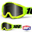 100% THE ACCURI SAND Fluo Yellow Goggles - Dark Smoke Lens