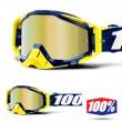 100% THE RACECRAFT Bilab Navy MX Goggles - Gold Mirror Lens