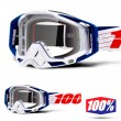 100% THE RACECRAFT Bibal White MX Goggles - Clear Lens