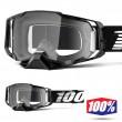 100% ARMEGA Black MX Goggles - Clear Lens